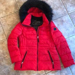 Red Calvin Klein winter coat
